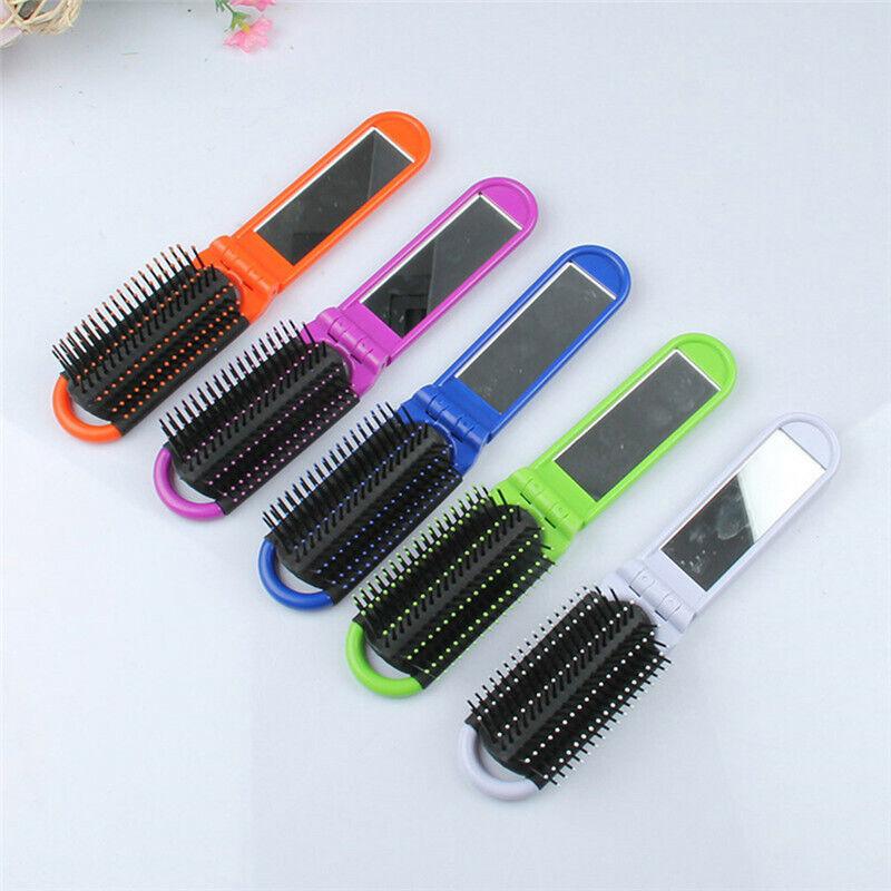 Portable Travel Folding Hair Brush With Mirror Compact Pocke