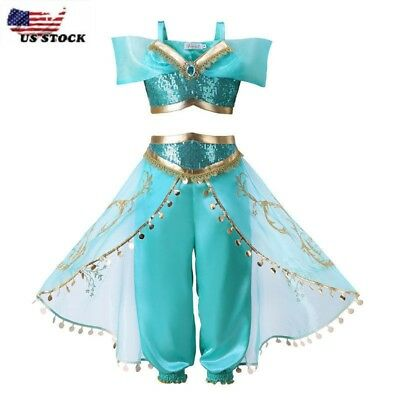 Kids Girls Aladdin Costume Princess Jasmine Cosplay Party Fancy Dress Gift [K2 ]