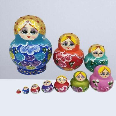 10X Wood Russian Matryoshka Nesting Dolls Hand Paint Gift Home Room Desk Decor