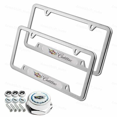 1 Pair For CADILLAC Silver Stainless Steel License Plate Frame w/ Screw Set New