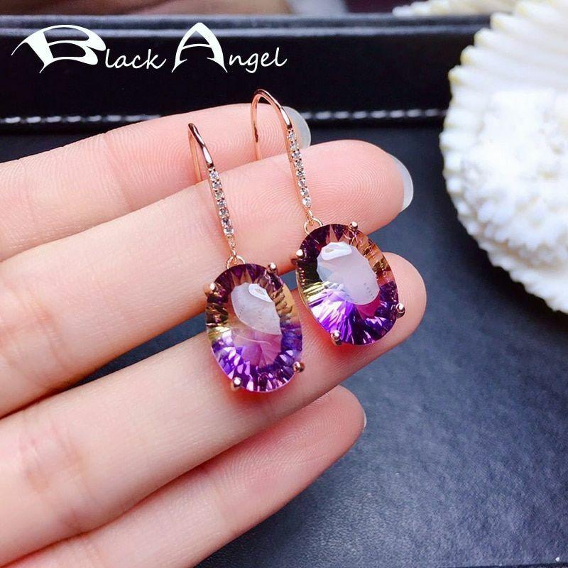 Elegant Amethyst Drop Earrings 925 Sterling Silver For Women Tourmaline Gemstone