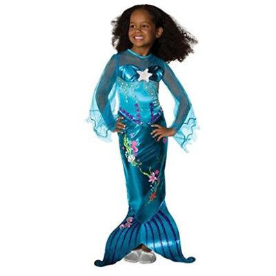sin Mädchen Kinder Kleider Tüll Kleid Cosplay Kostüm Blau (Prinzessin Meerjungfrau Kostüm)