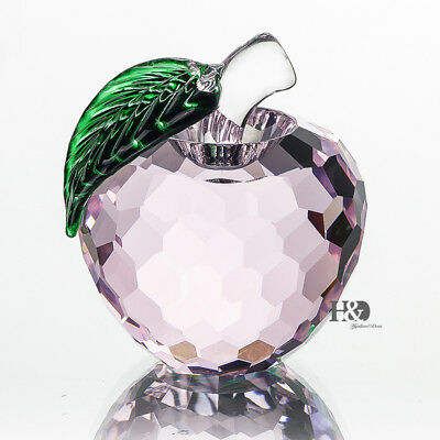 3D Pink Crystal Apple Figurine Paperweight Ornament Wedding Decor Gift 1 6