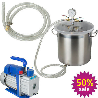 Safety Vacuum Chamber 5 Gallon Silicone Degassing With 3cfm Vacuum Pump 13hp