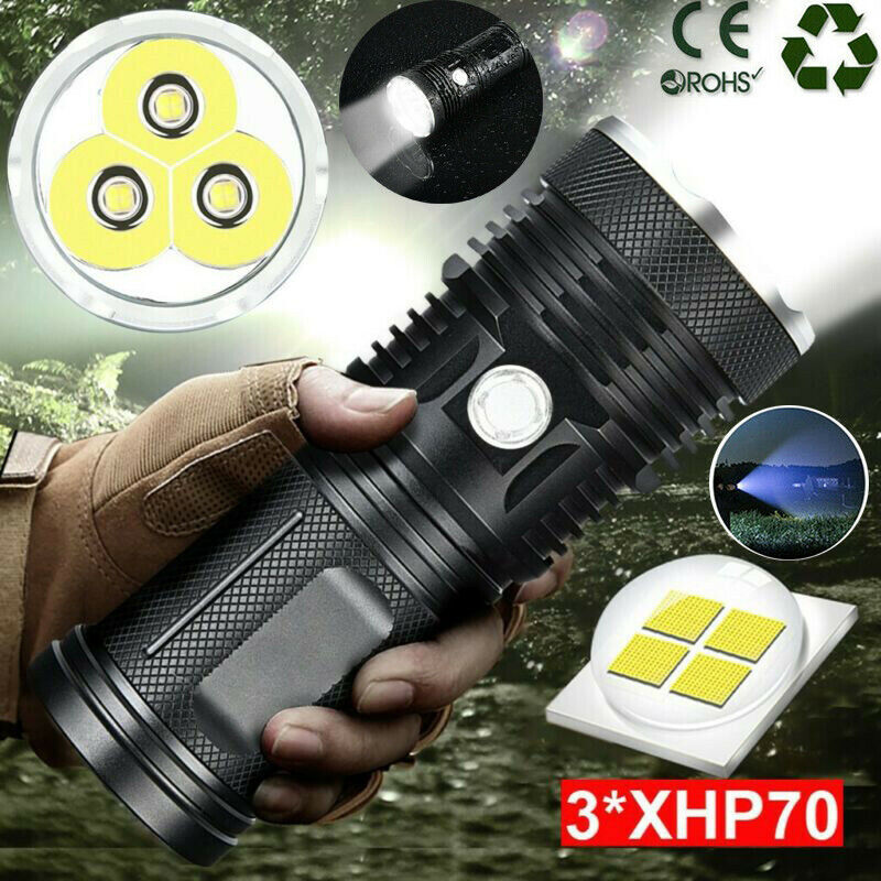 Powerful 3 Xhp70 Led Flashlight Torch Waterproof Lamp