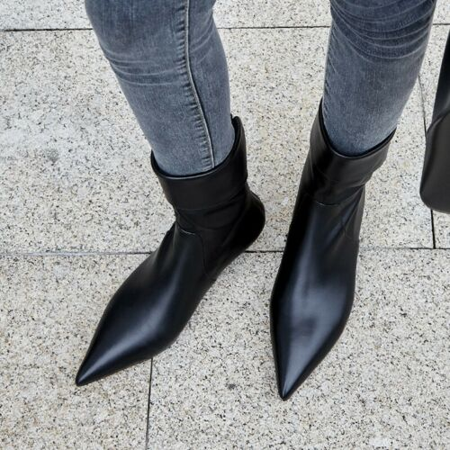 Womens Pointy Toe Kitten Heel Back Zip Party Ankle Boots Casual Shoes Size 34-39