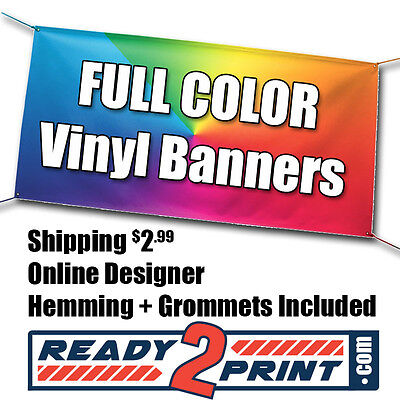 4 X 8 Full Color Custom Printed Banner 13oz Vinyl - Free Shipping