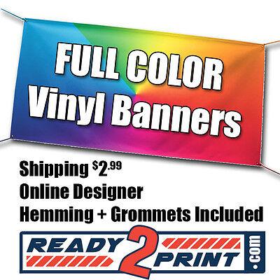 4' X 8' Full Color Custom Printed Banner, 13oz Vinyl - FREE - Printed Banners
