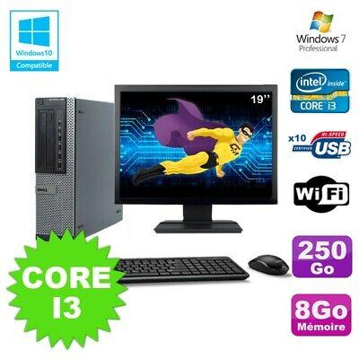 Lot PC Dell 790 DT I3-2120 3.3Ghz 8Go Disque 250Go DVD WIFI Win 7 + Ecran 19