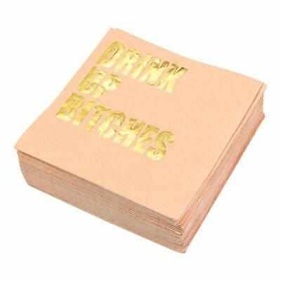 Bachelorette Party Napkins (Bachelorette Party Cocktail Napkins - 50-Pack Gold Foil Disposable Paper)