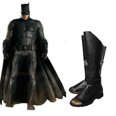 Justice League Batman Bruce Wayne Shoes Long Boots Cosplay Costume Halloween  NN
