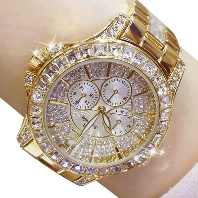 Ladies simulate Diamond Watch Gold Plated Women Luxury Fashion Quartz Wristwatch