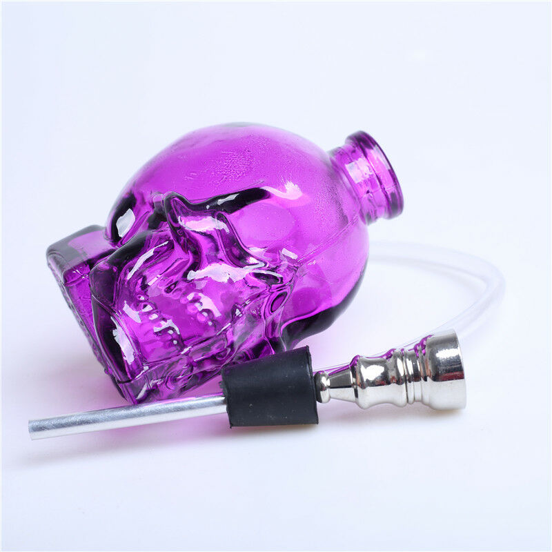 3.4''H Purple Glass Bong Water Smoking Hookah Skull Shape Hookah Bubbler Pipes