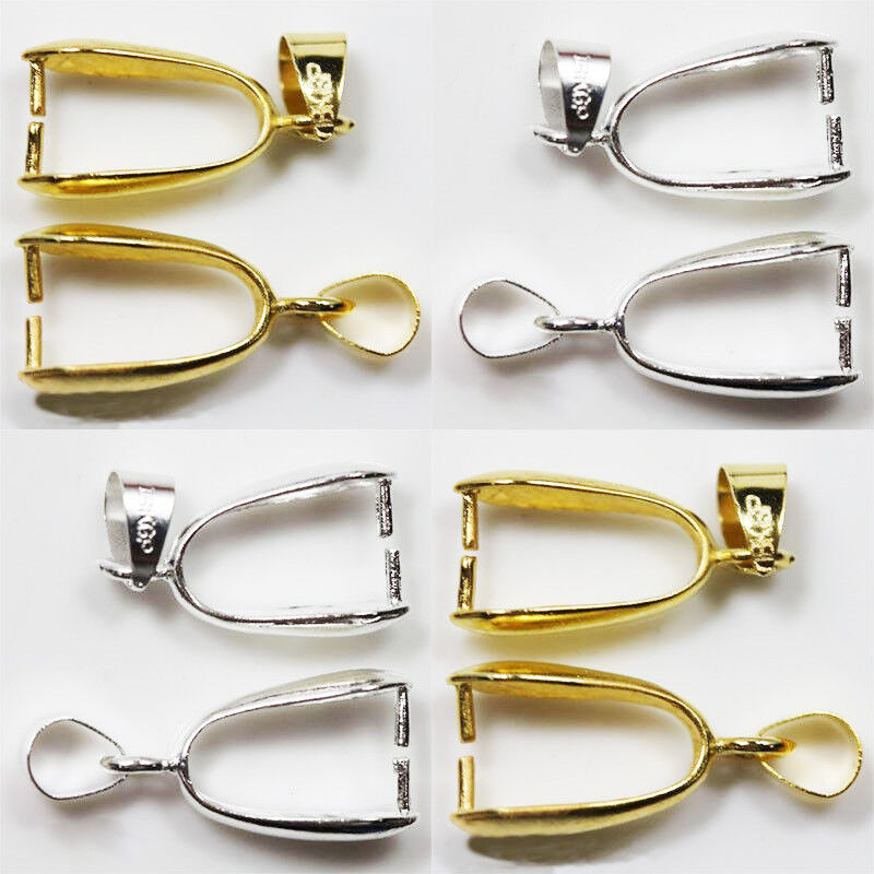 20Pcs Silver Gold Pinch Clip Bail Beads Findings DIY Making Jewelry Pendant Clip