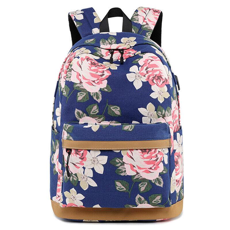 Fashion Flower Printing Backpack Women Waterproof USB Laptop