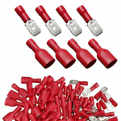 100Pcs Female&Male Spade Insulated Connectors Crimp Electrical Wire Terminal