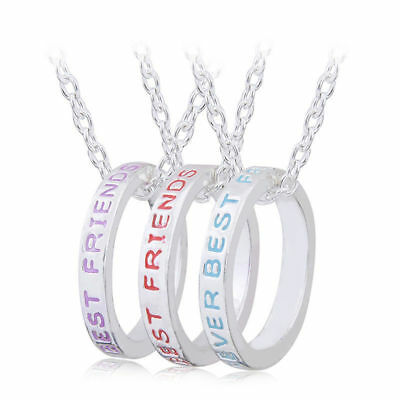 USA 3pcs Best Friends Forever Necklace Set Pair Rings Friendship BFF Hoop