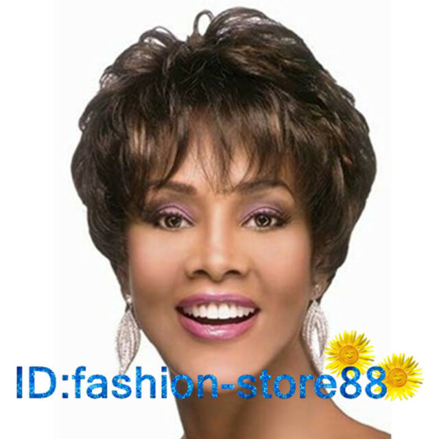 2017 New Sexy Fashion Women's ladies short Brown mixed Natural Hair full wigs