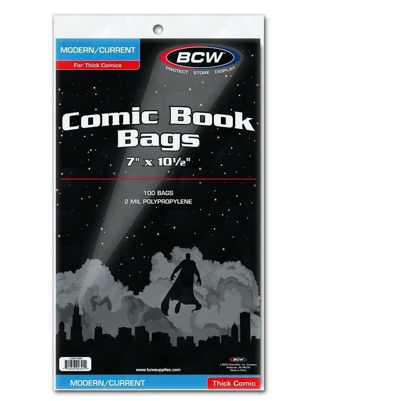 300 BCW CURRENT THICK MODERN AGE COMIC BOOK POLY BAGS AND BOARDS