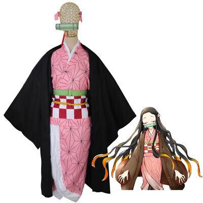 Demon Slayer Kamado Nezuko Cosplay Costume Brown Kimono Suit Women Outfit - Costume Demon