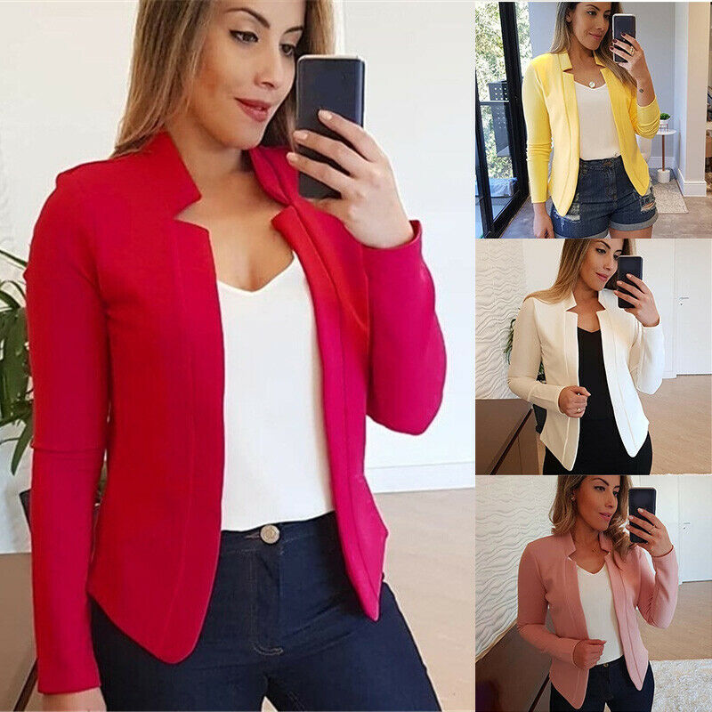 Womens Casual Slim Blazer Suit Jacket Solid Coats Formal Career OL Outwear Tops