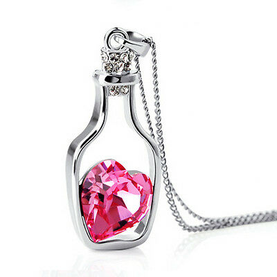 Crystal Love Heart - Hot Women Crystal Rhinestone Love Heart Drift Bottle Pendant Necklace Chain Gift