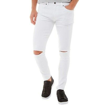 Ringspun Mens Apollo Super Skinny Fit Jeans, White, W34 L32, BNWT