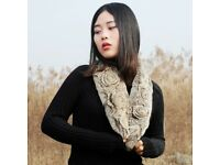 DAYMISFURRY-- Knit Floral Rex Rabbit Fur Scarf In Cream