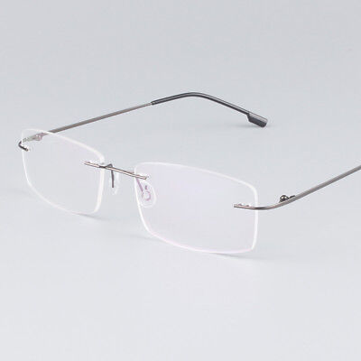 (Flexible Rimless Titanium Alloy Eyeglasses Women Men Glasses Frame Optic Eyewear)