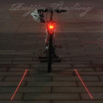 2 Laser +5 LED Flashing Lamp Light Rear Cycling Bicycle Bike Tail Safety Warning