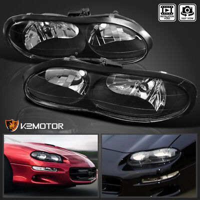 1998-2002 Chevy Camaro Z28 Black Replacement Headlights Left+Right