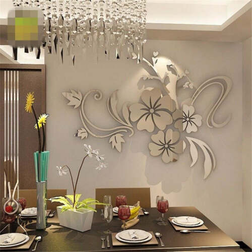 Removable Acrylic 3D Flower Mirror Wall Sticker Art Mural Decal Home Room Decor