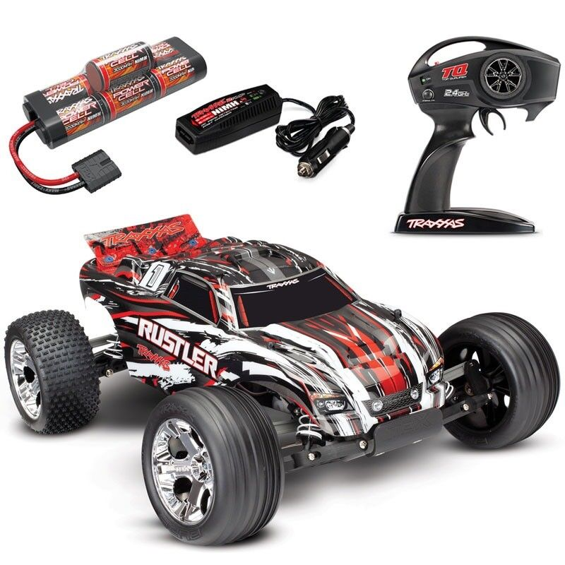 Traxxas Rustler XL-5 RTR RC Truck w/ID Battery & Quick Charger RED WHITE BLACK
