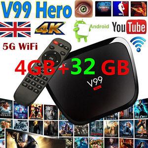 4GB+32GB Octa Core Android Smart TV Box 4K Ultra HD Media Player HDMI 1080P WIFI
