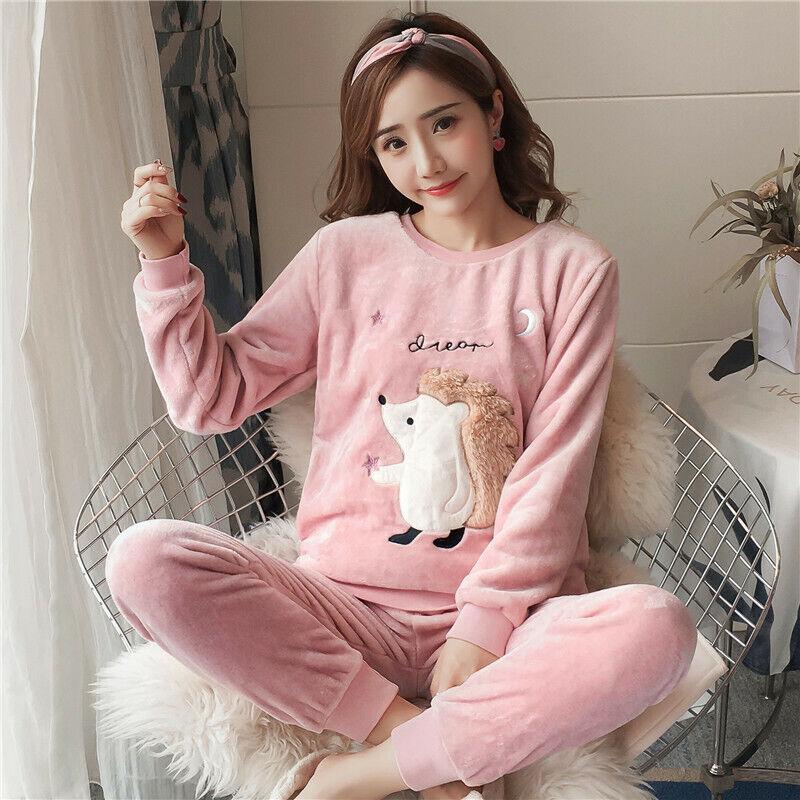 UK Womens Cat Fleece Fluffy Warm PJS Pyjamas Sleepwear Nightwear Pajamas Sets UK