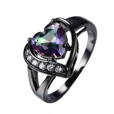 Mystic Heart Shaped Rainbow Topaz Engagement Ring 10KT Black Gold Filled Sz 5-11