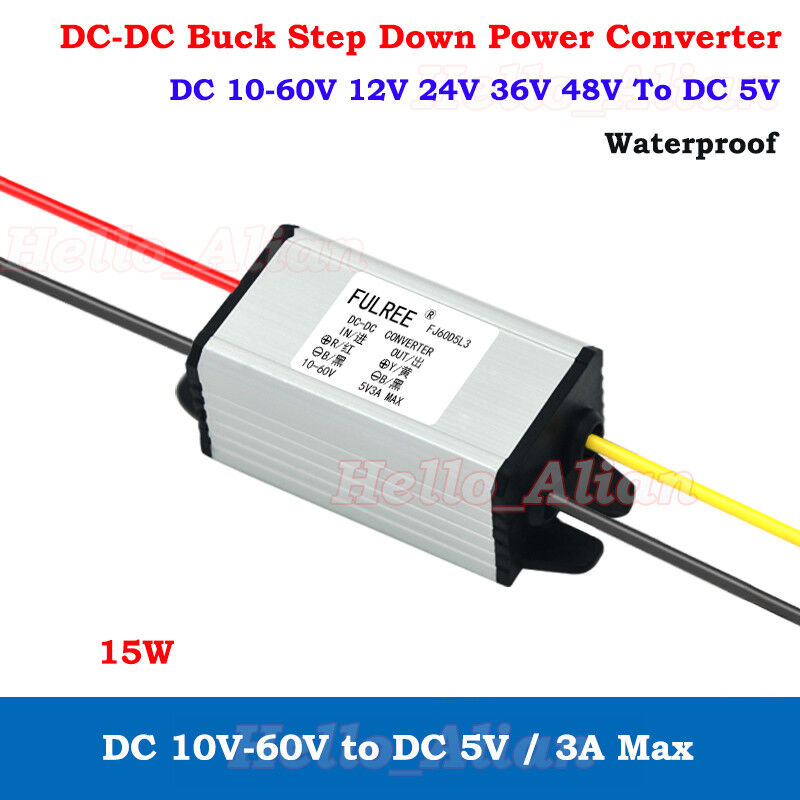 Waterproof DC-DC Buck Step Down Volt Converter 12V 24V 36V 48V 60V to 5V 3A Car