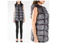 Silver Fox Fur Vests size UK 8-10