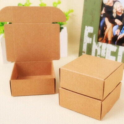 Brown Kraft Paper Boxes Crafts Gifts Candy Jewelry Handmade Soap Packaging Boxes
