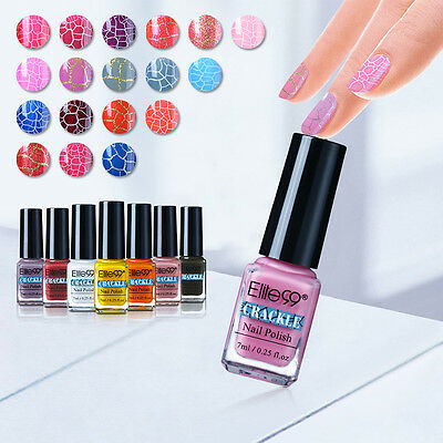 Elite99 Soak Off Crackle Nail Polish 7Ml Uv Led Top   Base Coat Pedicure Decor