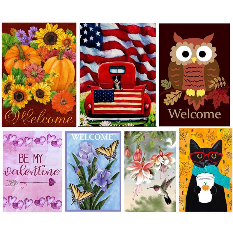Xmas Fall Welcome Garden Flag 12.5 x 18inch Garden Yard Flow