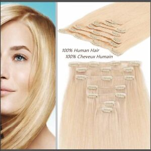 100% HUMAN HAIR,Blonde,CLIP IN Hair extension,7pcs set REMY Yellowknife Northwest Territories image 6
