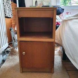 Vintage wooden bedside table cabinet