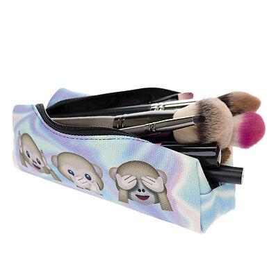 Student Oxford Emoji Pencil Case Box Pen Pocket Cosmetic Makeup Zipper Bag Pouch