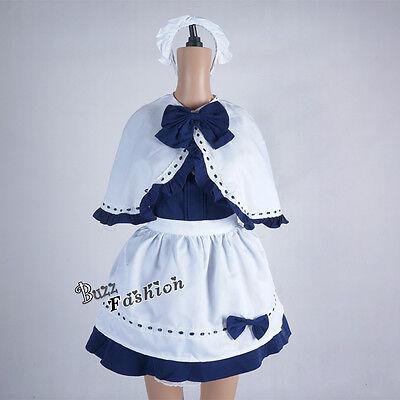 Süß Frauen Kleid Marineblau Gemischt Mädchenuniform Lolita Cosplay Kostüm (Marine Kostüme Frauen)