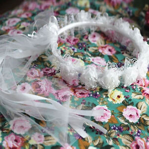 Beautiful white flower girl or first communion headband - new