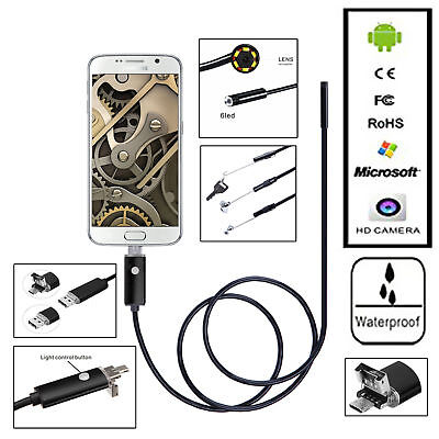 2m6.6ft Android Endoscope 8mm 6 Led Usb Waterproof Borescope Inspection Camera
