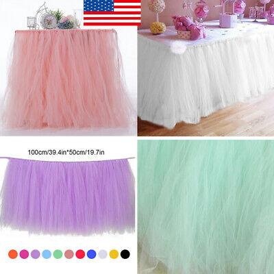 Tulle TUTU Table Skirt Cover Birthday Wedding Festive Party Decor Table Cloth MG (Tulle Cloth)