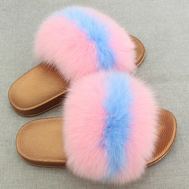 Woman Real Fox Fur Slipper Slides Summer Flat Sandals Shoes w PVC Soles