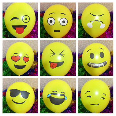 10pcs Cute Emoji Face Latex Balloons Festival Wedding Birthday Party Decoration